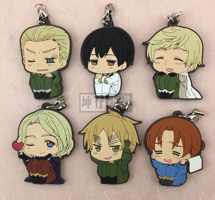 Anime Axis Powers Hetalia figures Italy,Russia, Japan,Germany, France,United Kingdom pvc figure phone strap/Keychain pendant toy