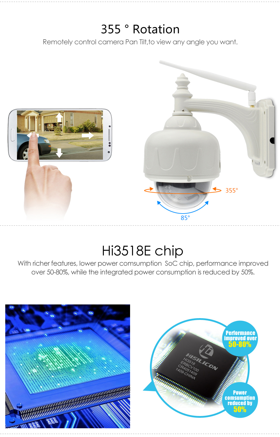 720P Wifi IP Camera PTZ Wireless Waterproof Outdoor IR-Cut Security Surveillance For Smart Home Automation Controller