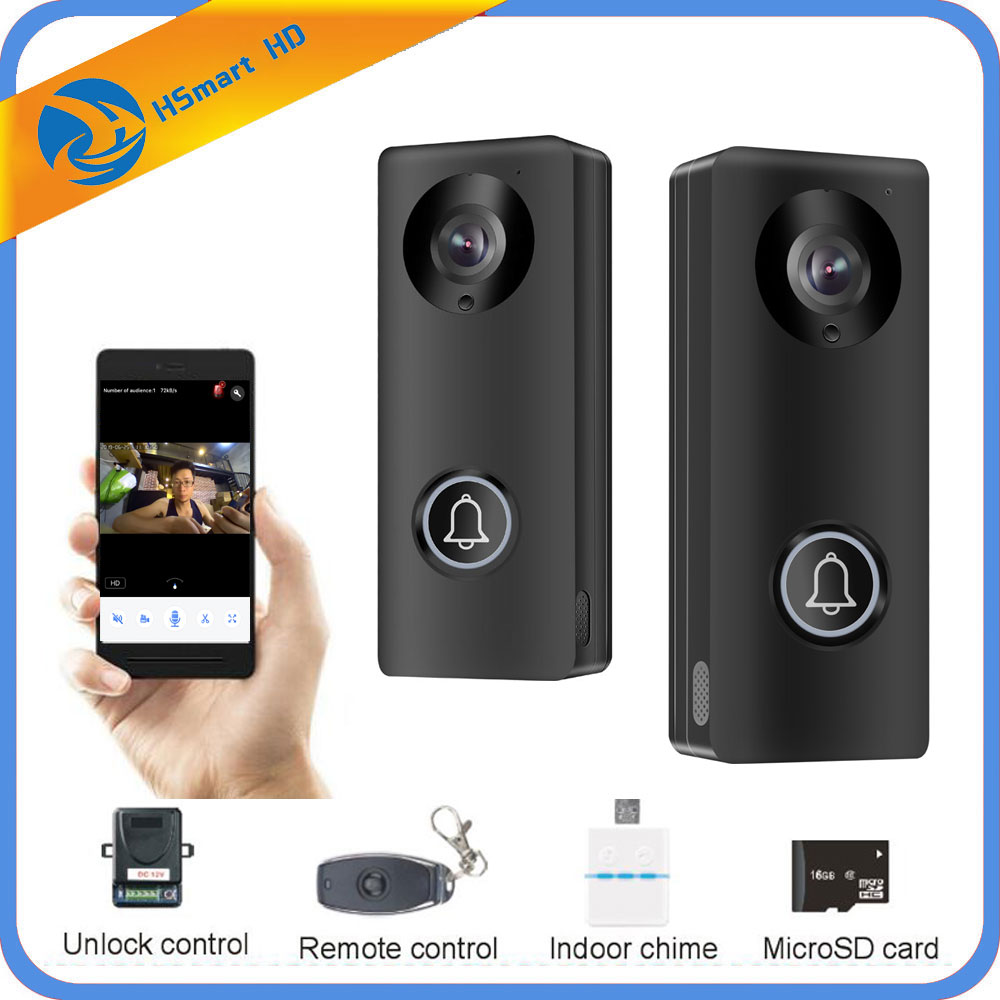 HD 1080P Camera Wifi Video Door Phone Doorbell Wireless Intercom Support SD Card For Android IOS Smartphone Remote View Unlock