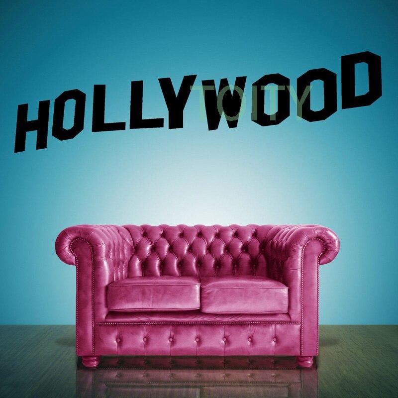 Голливуд надписи Виниловые Наклейки на стены Стикеры Ретро Книги по искусству Декор Спальня Дизайн Фреска м h33cm x w118cm L h57cm x w203cm