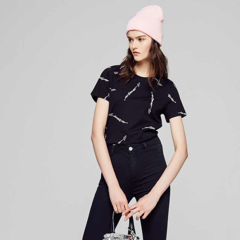 Metersbonwe 新綿の女性の tシャツニット漫画の印刷半袖トップス & tシャツファッションカジュアルカップル tシャツ