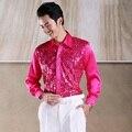 Hombres brillantes lentejuelas camisa camisa de la ropa puesta en escena de baile de gala ofrecida coro Camisas