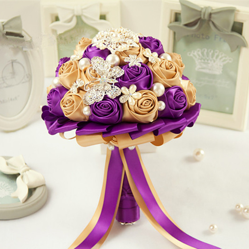 Purple And White Wedding Flower Bouquets: Original Highquality Gold Champagne Bridal Bouquet Purple