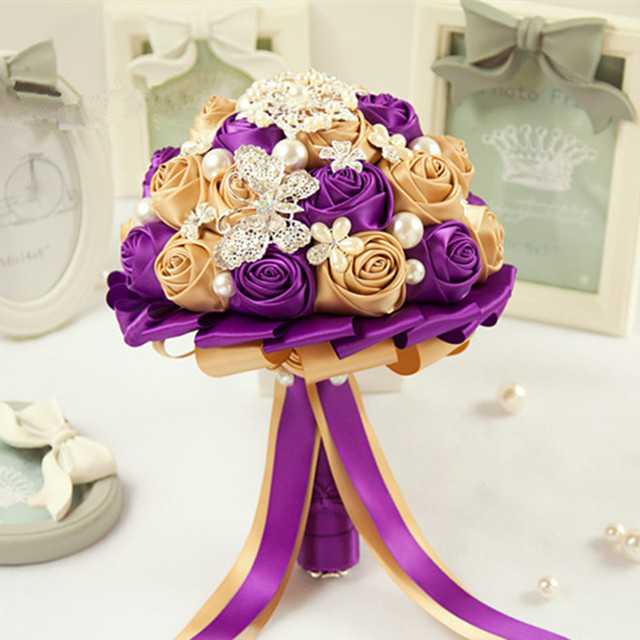 original highquality gold champagne bridal bouquet purple wedding ...