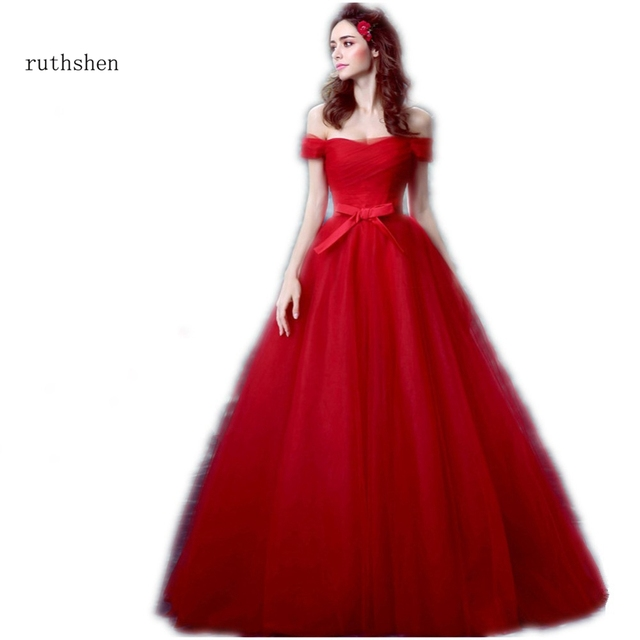 ruthshen Simple Red Wedding Dresses Cheap 2018 New Off Shoulder ...