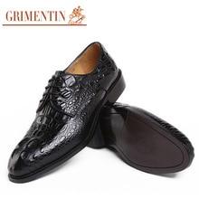 GRIMENTIN Luxury Vintage fashion men shoes genuine leather mens italian shoes black brown wedding crocodile shoes men flats