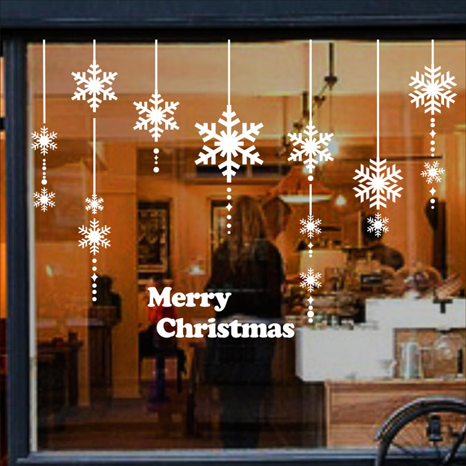 Aliexpress Com Buy Flying Snow Winter Christmas Paster Of Wall Store Clothing Store Coffee Shop Glass Door Decorative Ch082 From Reliable Door Film