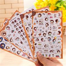 G208 lovely Korean girl sticker / diary / mobile phone stick a set of 1pieces of one price Office supplies for student supplies(China)