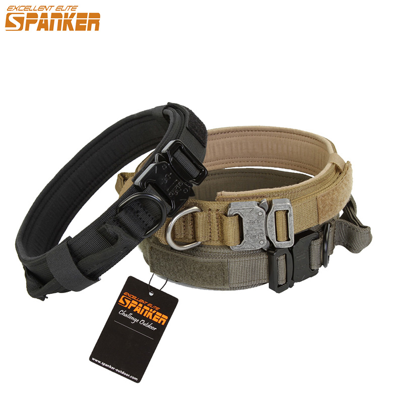 EXCELLENT ELITE SPANKER Outdoor 1.5 Wide Military Training Nylon Dog Collar Tactical Big Dogs Necklace Hunting Led Dog Collars