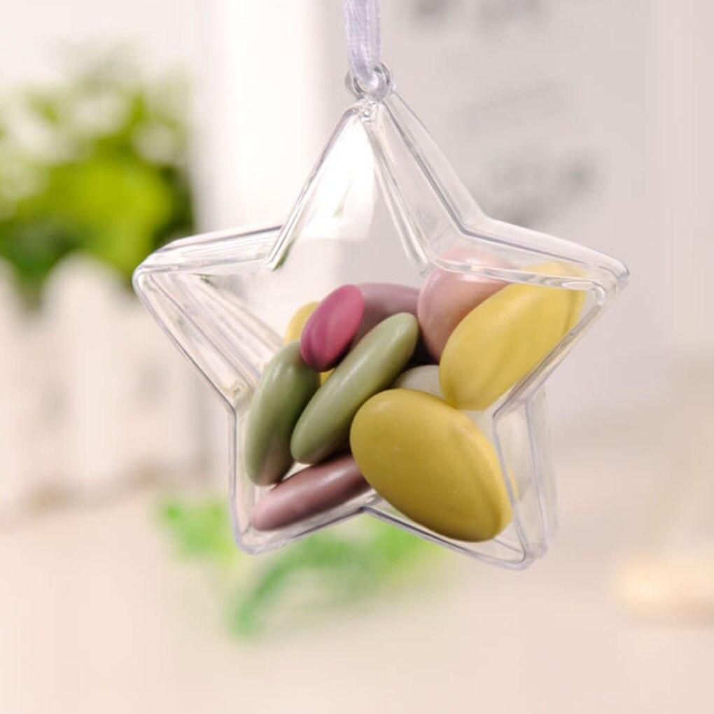 5pcs Plastic Transparent Five-pointed Star Shape Wedding Candy Box Case Decoration