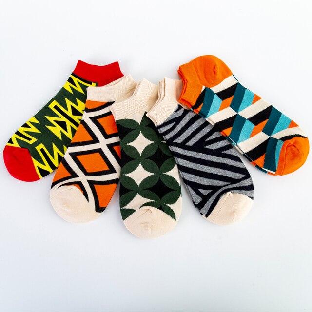 Jhouson High Quality Men's Casual Novelty Socks New 2019 Summer Ankle Socks Combed Cotton Plaid Striped Dress Boat Socks 2