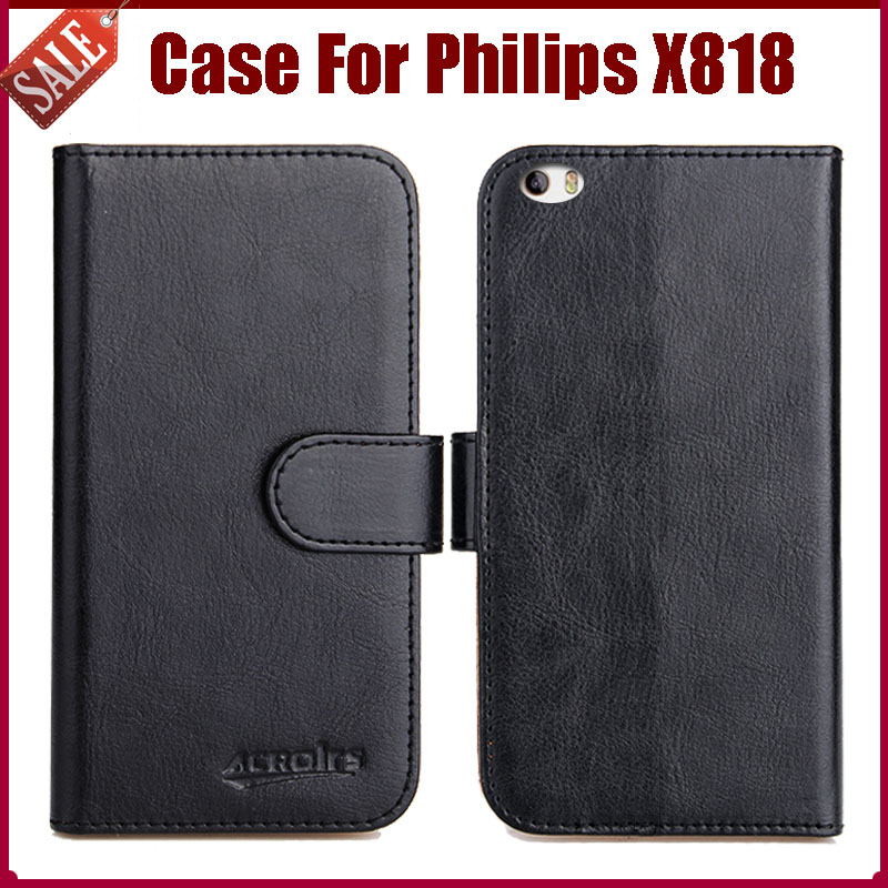 Hot Sale! High Quality Flip Leather <font><b>Case</b></font> for <font><b>Philips</b></font> <font><b>X818</b></font> Cover mobile phone with card holder style Free Shipping image