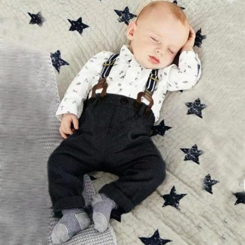 Newborn Infant Gentlemen Baby Boys Toddler 2PCS Set T-shirt Top+Denim Bib Pants Overall Outfits Formal Baby Boy Clothing Sets