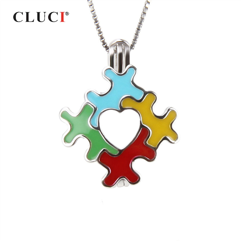 CLUCI 925 Sterling Silver Autism Awareness Charms Pendant for Women Puzzles Pieces Heart 925 Silver Pendant Pearl LocketCLUCI 925 Sterling Silver Autism Awareness Charms Pendant for Women Puzzles Pieces Heart 925 Silver Pendant Pearl Locket