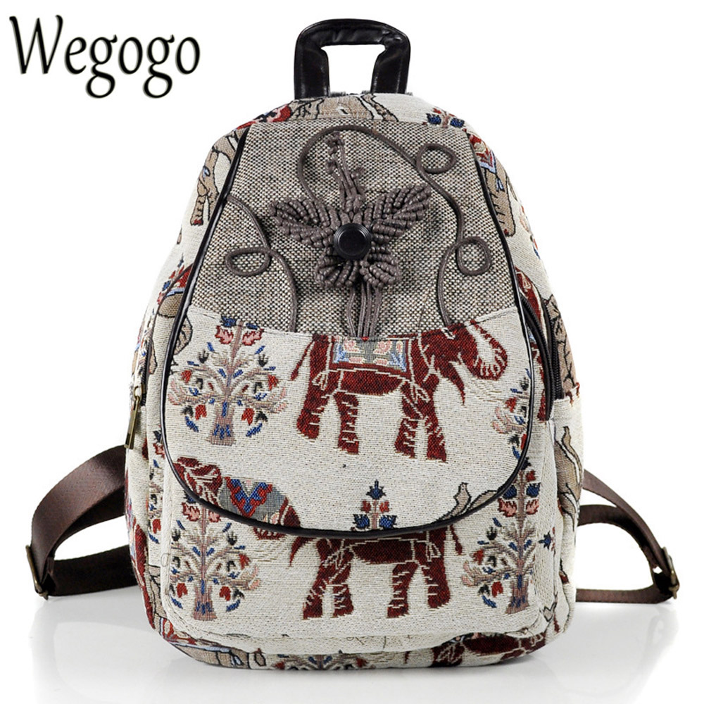 Chinese Women Backpack Elephant Embroidered Backpack Canvas Embroidery Shoulder Bag Travel Rucksack Schoolbag Woman Mochila scione ethnic canvas backpack printing elephant butterfly drawstring casual rucksack travel shoulder bag mochila feminina xa739a
