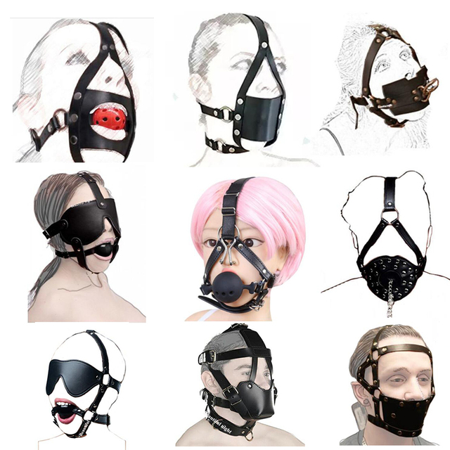 Ball Mouth Gag ,Leather Head Harness Mouth Mask BDSM Bondage Restraint Mouth Gag Muzzle,Adult Sex Toys 1