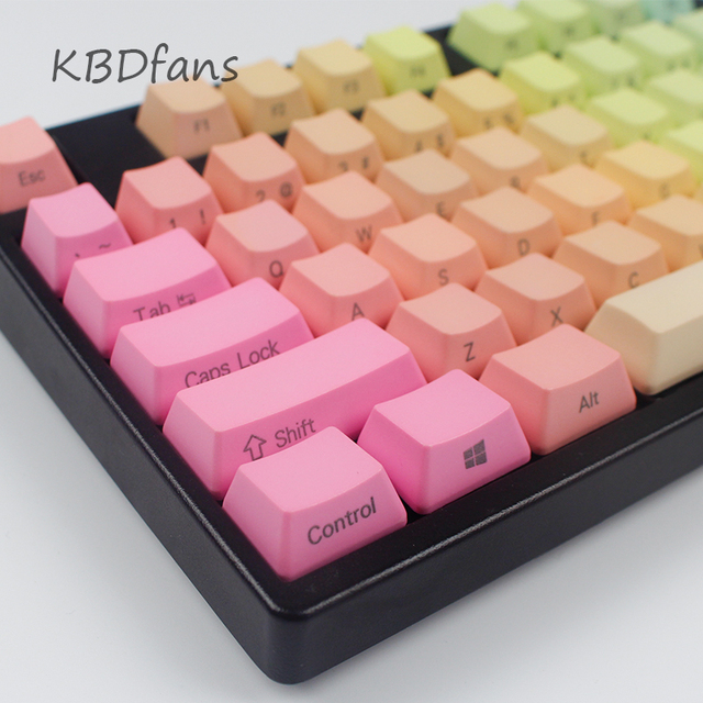 Rainbow keycaps pbt top/front/side/blank printed cherry mx keycaps for mechanical keyboard104/87/60OEM