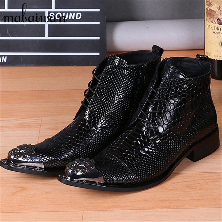 Fashion Design Black Snakeskin Leather Men Military Boots