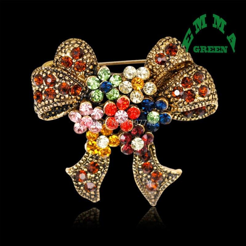 Gold Color Rhinestone Bow Brooches For Women Large Bowknot: Various Gold Color Scarf Brooches Buckle Rhinestone