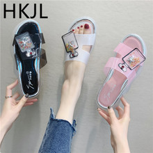 HKJL 2019 summer new fashion womens slippers muffin bottom crystal with female drag rhinestones drift bottle A476