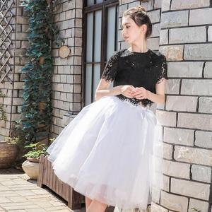 Image 3 - 5Layers 65cm Summer vintage skirts women Elastic High Waist tulle mesh Petticoat Pleated tutu skirt women Saias midi faldas jupe