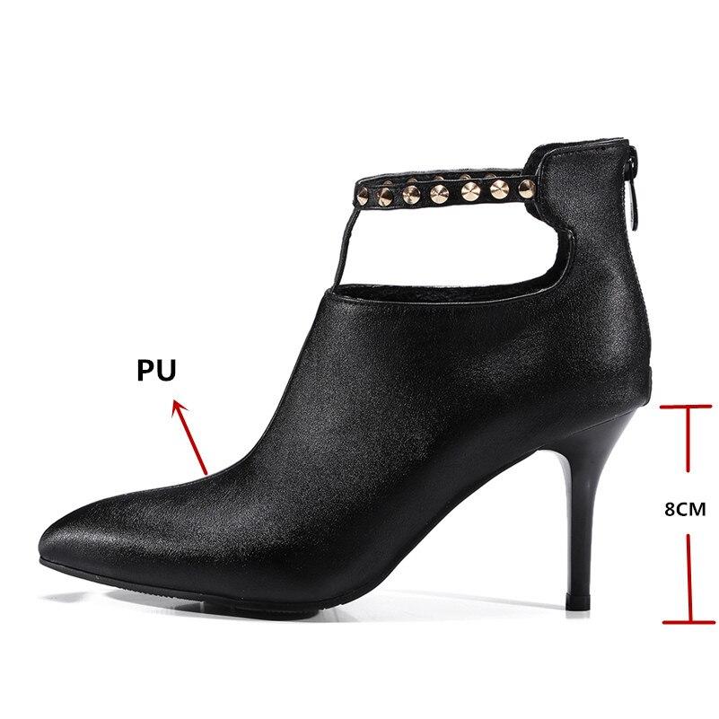 Punk rouge Pompes Haute Noir Femmes Pointu Parti Bout Base Conasco Talons De Rivet Mariage Marque Hiver Chaud Chaussures Bottes Automne Conception Femme UqOHp1