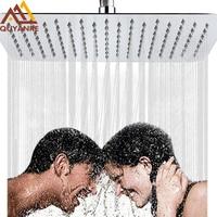 US RU Shipping Shower Head 16 Inch Luxury Ultrathin Rainfall Shower Head Stainless Steel Chrome Nickel Bathroom Faucet Accessory