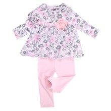 Детская Хлопковая футболка с длинными рукавами и цветочным принтом для маленьких девочек и длинные леггинсы штаны, комплект одежды для маленьких девочек