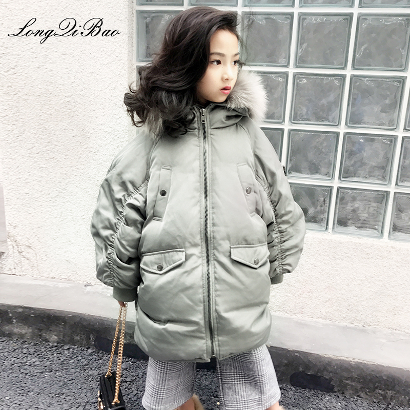 Girls Korean version of the fur collar detachable loose long paragraph over the knee white duck down jacket 2018 winter new big Girls Korean version of the fur collar detachable loose long paragraph over the knee white duck down jacket 2018 winter new big