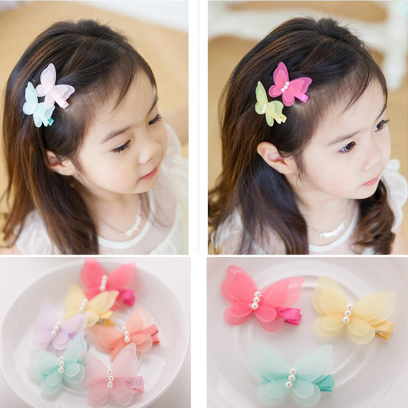 Hot Korean Sweet Cute Hair Clips Kids Girls Chiffon Butterfly Hairpins Princess Party Barrettes BB Clips Hair Accessories new arrival baby cute 30pcs lot wholesale hair clips glitter animals butterfly felt hairpins high quality baby princess clips