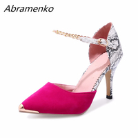 Abramenko Women Shoes Serpentine Suede Snake Genuine Leather Metal Pointed Toe High Heels Big Size 43 Summer Style Sandals Pumps