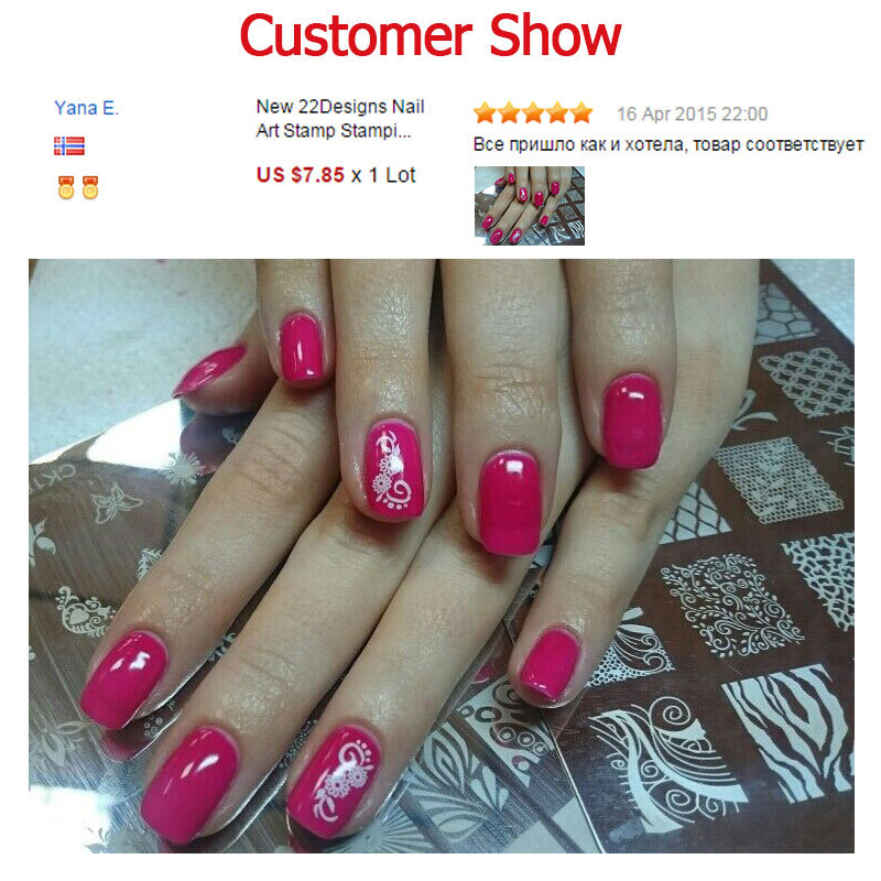 New Polish Nail Stamping Plates 1pcs Flowers French Designs Stencil ...