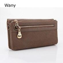 Dull Polish Leather Wallet FashionWomen Wallets Double Zipper Day Clutch Purse Wristlet Portefeuille Carteira Feminina Monedero