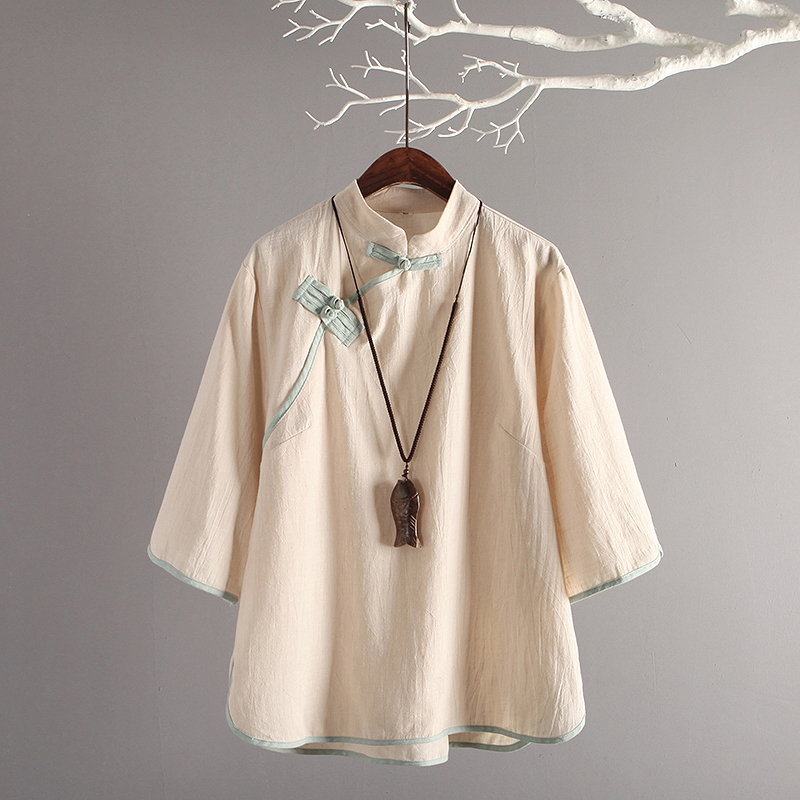 NAGODO Chinese Style Linen Top Women Wear Retro Folk Slanting Breasted Half Sleeves Cotton Tea Art Clothings Shirt