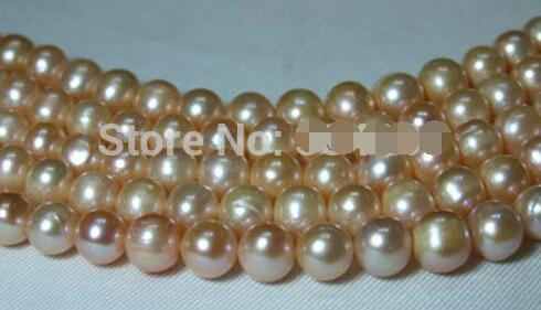 Vente en gros 5 brins 8-9mm perles d'eau douce rose perle ronde>>> femmes bijoux livraison gratuite