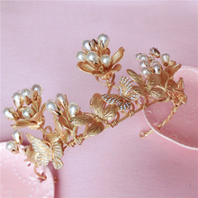 HIMSTORY Gorgeous Retro Baroque Gold Leaf&Butterfly Hair Crown Jewelry Rhinestones Pearl Headpieces Wedding Accessories