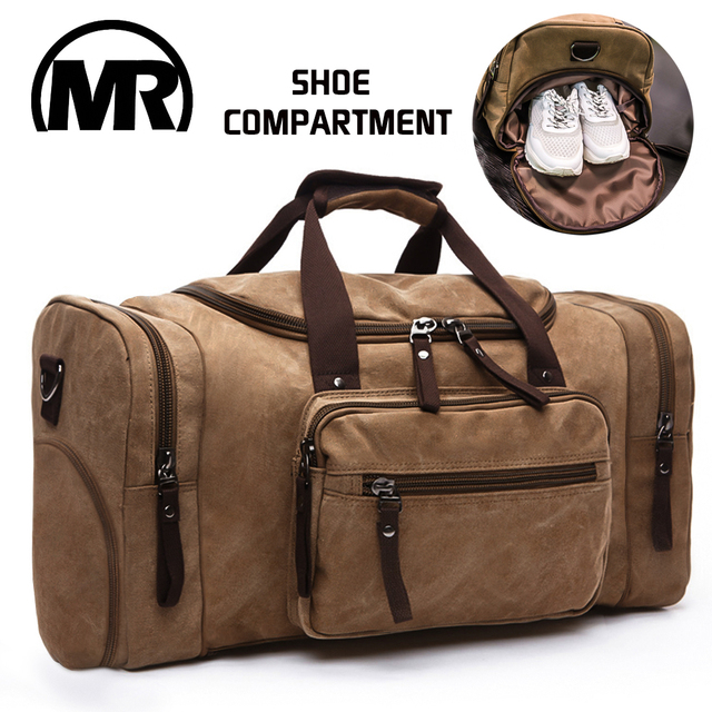MARKROYAL Men Travel Bag With Shoes Compartment Canvas Handbag Overnight Messenger Bag High Capacity Duffle bag For Teenagers