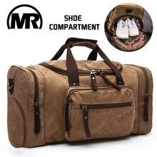 MARKROYAL erkekler seyahat çantası ayakkabı bölmesi ile kanvas çanta gecede askılı çanta yüksek kapasiteli spor gençler için çanta