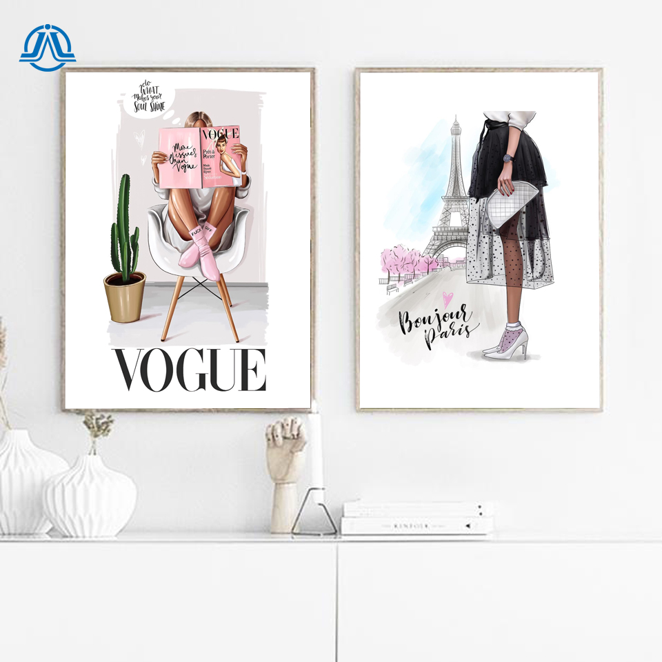 Girl Bedroom Quadro Fashion Figure Posters And Prints Vogue Women Wall Pop Art Painting On Canvas Pictures Home Decor No Frame