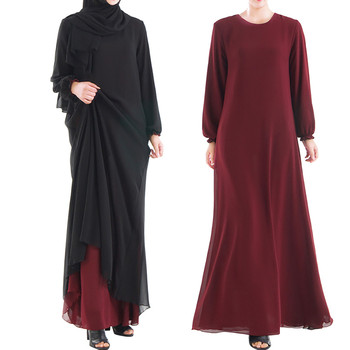 Muslim Women Wear On Both Sides Dubai Abaya Maxi Dresses Islamic Clothing Women Casual Long Sleeve O-Neck Casual Dress a417