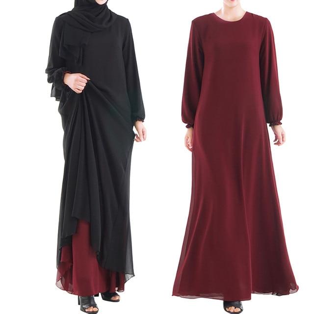 Muslim Women Wear On Both Sides Dubai Abaya Maxi Dresses Islamic Clothing Women Casual Long Sleeve O-Neck Casual Dress a417