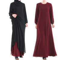 Muslim Women Wear On Both Sides Dubai Abaya Maxi Dresses Islamic Clothing Women Casual Long Sleeve O Neck Casual Dress a417