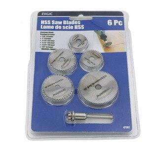 Image 2 - 6 sztuk/zestaw HSS miniaturowa piła tarczowa ostrze do cięcia drewna wiertła do narzędzi obrotowych Dremel Metal Cutter elektronarzędzia trzpień zestaw