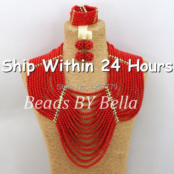 Good Quality African Coral Beads Jewelry Set African Bridal African Coral Beads Jewelry Set 2017 New
