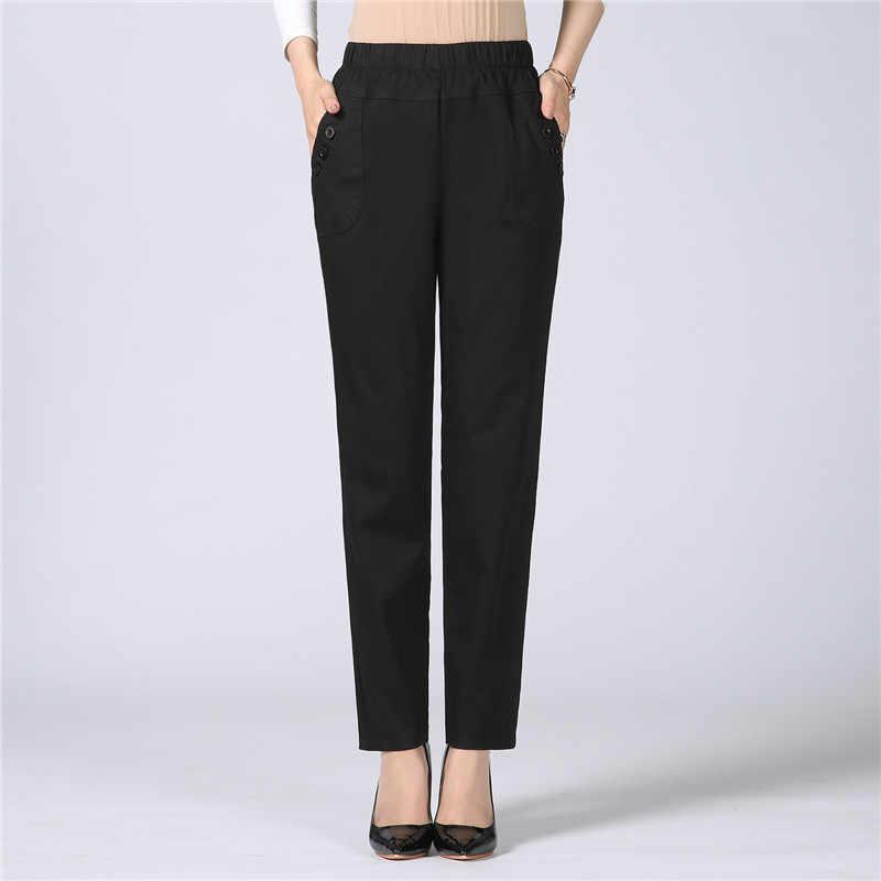 40b6f47ecda9 ... Большие размеры 5XL с высокой талией стрейч Длинные брюки женские  хлопковые прямые брюки Женские панталоны рабочие ...