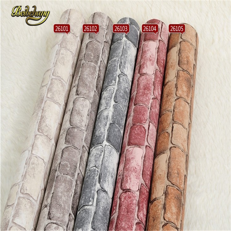 beibehang papel de parede. Vinyl Tan vintage wall paper brick wallpaper embossed wallpaper pvc roll 3D modern wall  overing 3d wall paper brick thicken pvc vintage stone wallpapers pvc vinyl wallpaper roll for walls papel pintado papel de parede tijolo