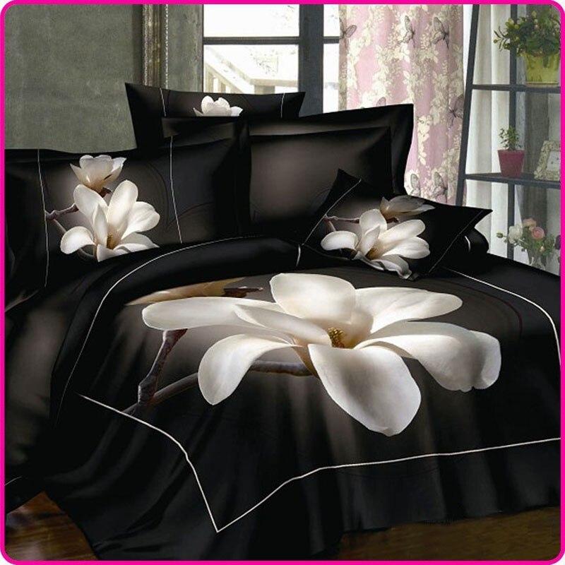 ᗕSábana negro blanco Magnolia flor 100 algodón cama conjunto