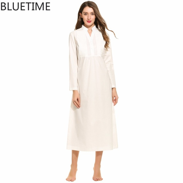 BLUETIME 100% cotton nightgowns for women vintage nightwear V-Neck Long Sleeve Autumn Long night dress 30A