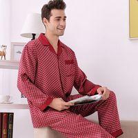 High grade 100% Natural Silk Men Pajamas Long Sleeved Pants Suit Sleepwear Men's Real Silk Pyjama Set Nightwear Home Clothing