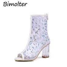 купить Bimolter Women Clear Heel Transparent Boots Peep Toe Ankle Boots Clear Chunky Heels Bling Crystal Sandals Fashion Pumps PSEB013 по цене 3893.54 рублей